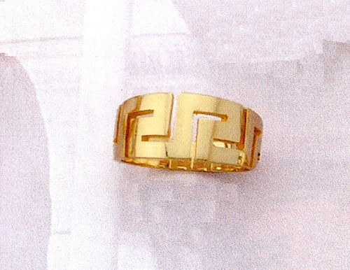 Gold Greek key band ring D26