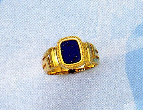 Gold Greek key band ring D310
