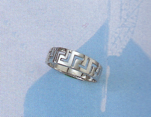 White Gold Greek key band ring D32