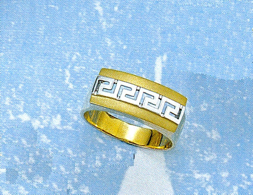 Gold & white gold Greek key band ring  D552