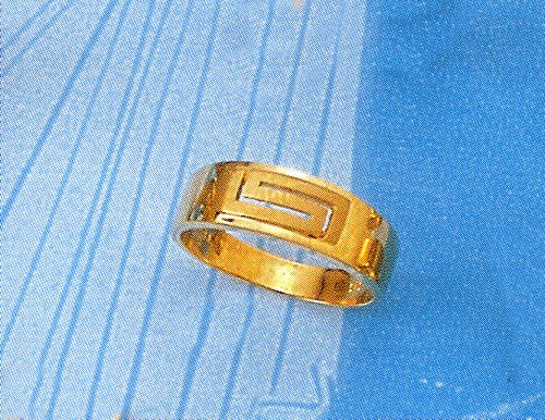 Gold Greek key band ring D55