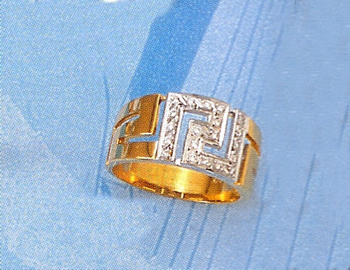 Gold Greek key band ring with zirgons D564