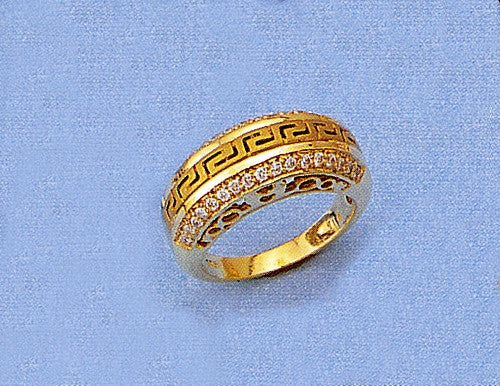 Gold Greek key band ring with zirgons D569