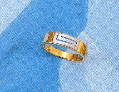 Gold & white gold Greek key band ring D56