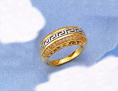 Gold & white gold Greek key band ring with zirgons D570