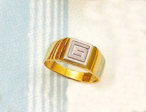 Gold & white gold Greek key band ring D68