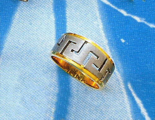 Gold & white gold Greek key band ring D72