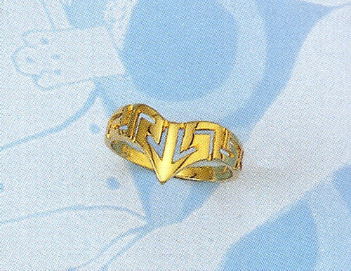 Gold Greek key band ring D80
