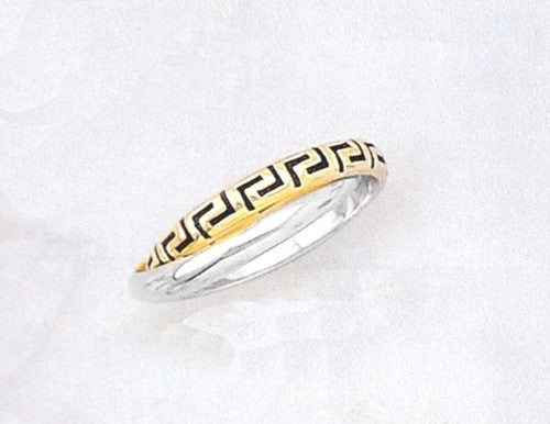 White Gold Greek key slim design ring D826