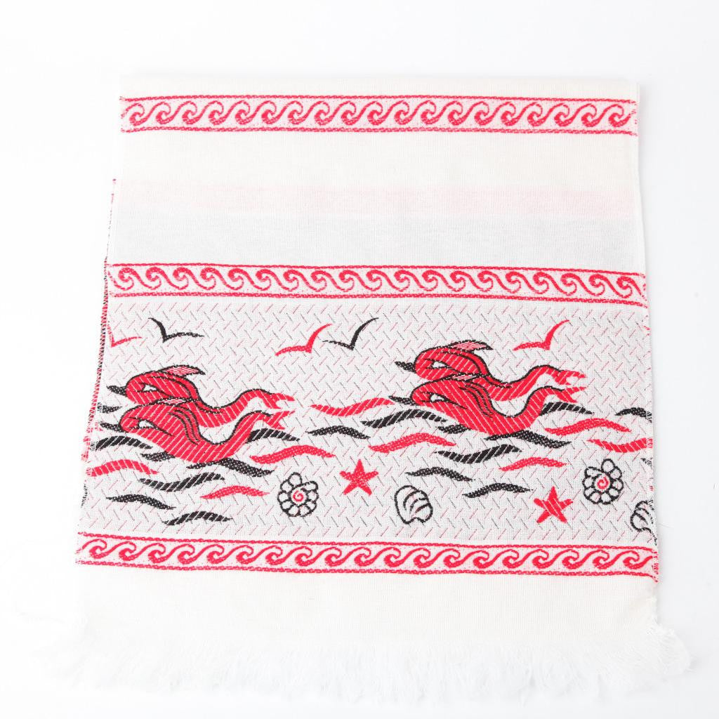 Greek Doily ~ Dolphin ~ Red
