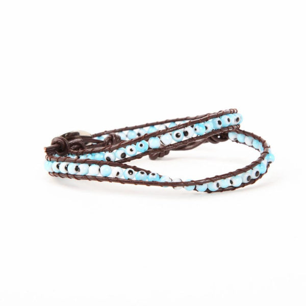 Evil Eye Leather Bracelet ~ Turquoise