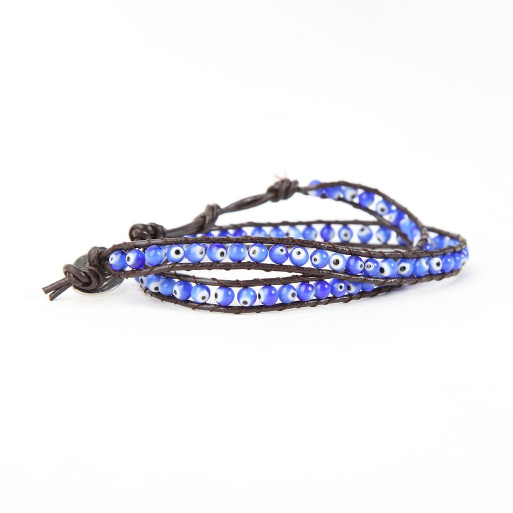 Evil Eye Leather Bracelet Blue