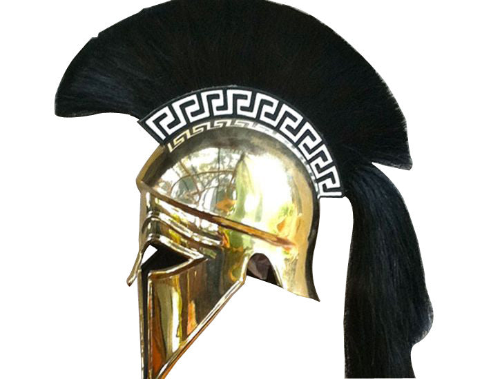 Corinthian Full Size Helmet with plume & Greek key