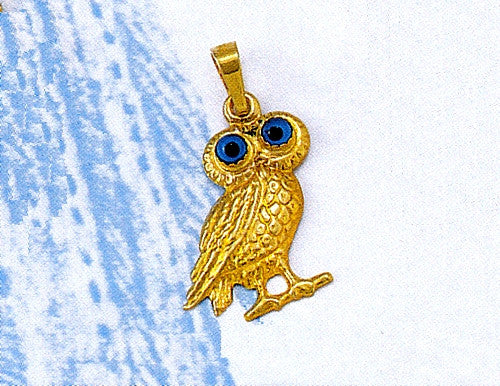 Gold Owl of Athens Pendant