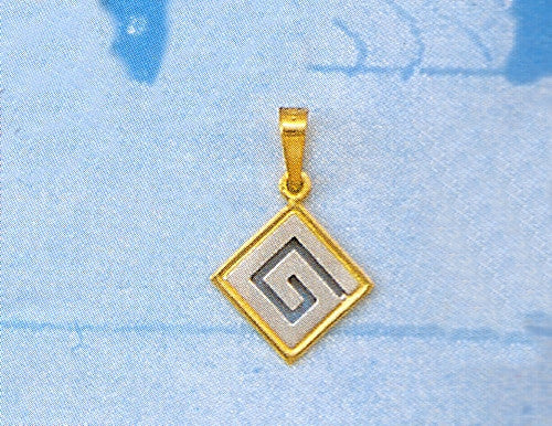Gold & White Gold Greek Key Pendant