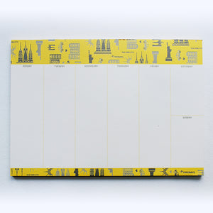 PAPERWAYS WEEKLY PAD - 3. NYC PATTERN YELLOW