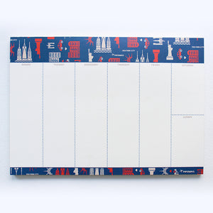 PAPERWAYS WEEKLY PAD - 4. NYC PATTERN NAVY