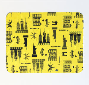PAPERWAYS MICROFIBER MOUSE PAD - 3. NYC PATTERN YELLOW