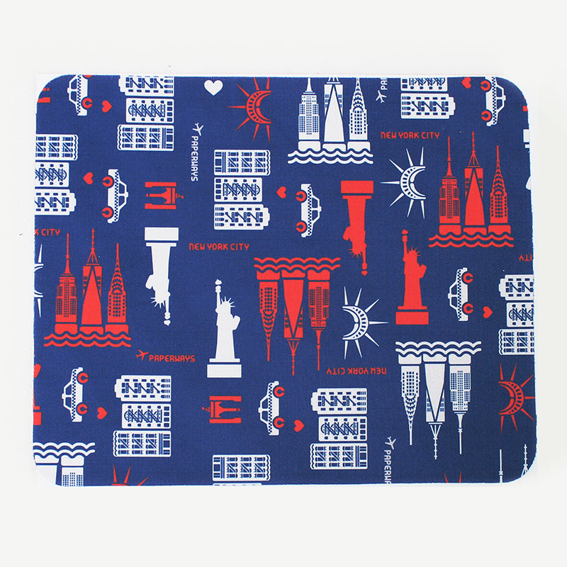 PAPERWAYS MICROFIBER MOUSE PAD - 4. NYC PATTERN NAVY