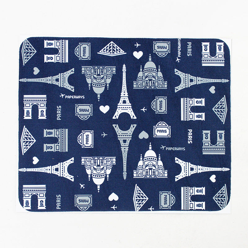PAPERWAYS MICROFIBER MOUSE PAD - 1. PARIS PATTERN NAVY