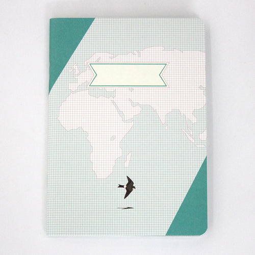 PAPERWAYS COMPAT NOTEBOOK - WORLD MAP MINT