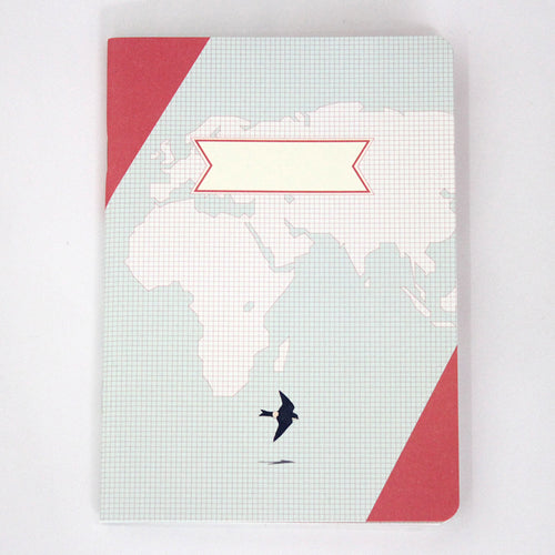 PAPERWAYS COMPAT NOTEBOOK - WORLD MAP PINK