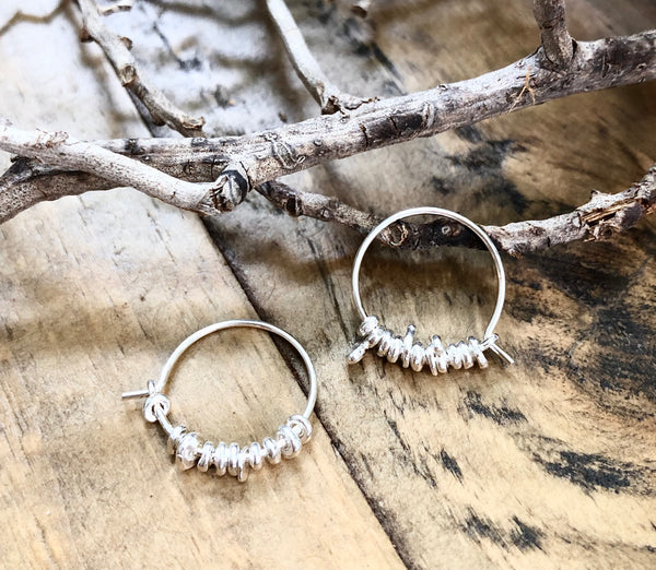 Silver Jagger Hoops