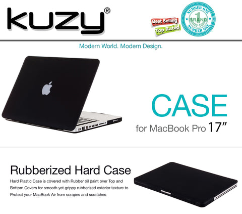 "17-inch Rubberized Hard Case Cover for MacBook Pro 17"" Model: A1297 Glossy Display - BLACK - Kuzy  