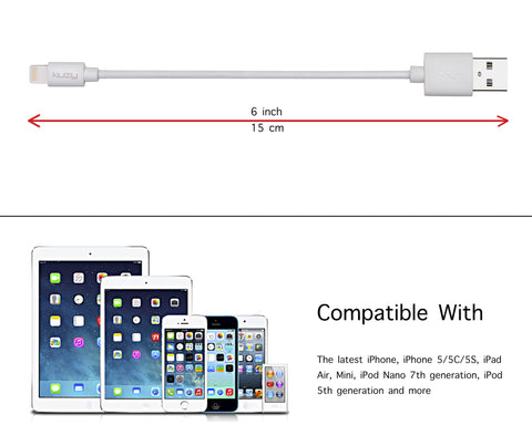 Kuzy Lightning to USB Cable Sync Charger for iPhone iPad iPod (6-inch Only)