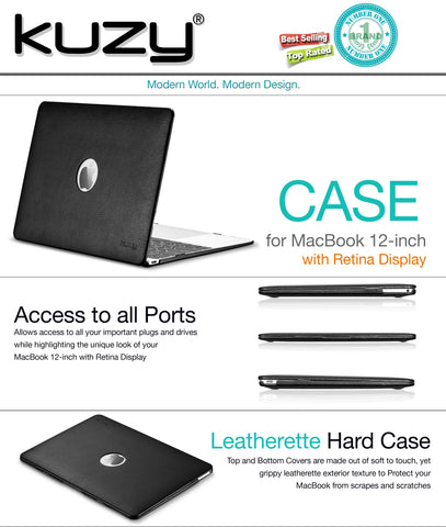 "Leather Hard Case for MacBook 12"" with Retina Display"