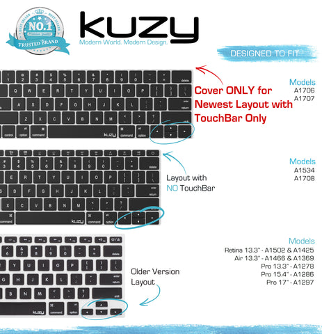 "Kuzy Black Keyboard Cover for 2016  MacBook Pro 13"" A1706 & MacBook Pro 13"" A1707 (with Touch Bar) Silicone Skin"