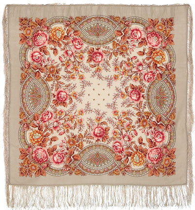 Russian Shawl 89cm - Taupe With Roses