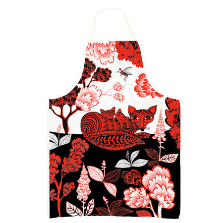 Lush Designs Fox & Cubs Apron Red
