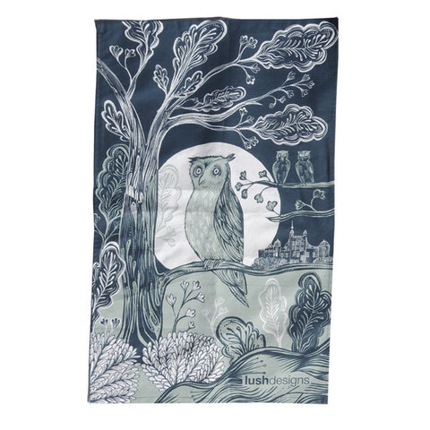 Lush Designs Owl Tea Towel Blue