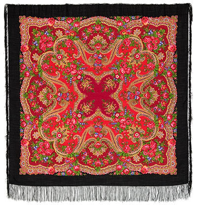 Russian Shawl - Black And Red