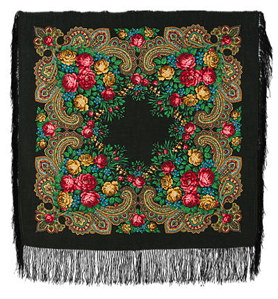Russian Shawl 89cm - Black with Multi Roses