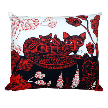 Lush Designs Fox & Cubs Cushion Red