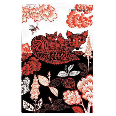 Lush Designs Fox & Cubs Tea Towel Red