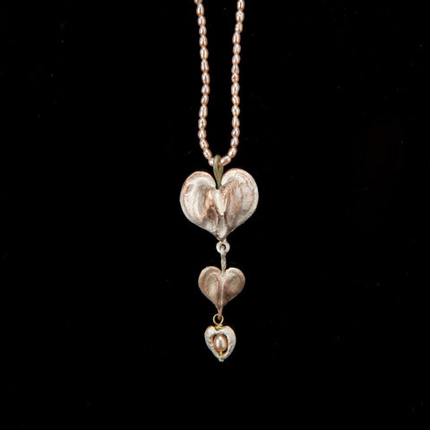 Michael Michaud Bleeding Heart Drop Pendant on Pearls
