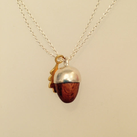 Phoebe Silver and Gold Squirrel and Acorn Necklace 18""