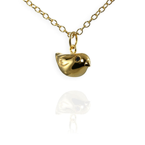 Jana Reinhardt Gold Sparrow Charm Necklace With Black Diamonds