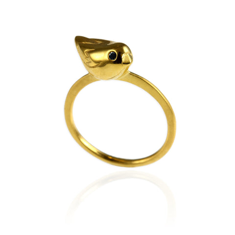 Jana Reinhardt Gold Sparrow Ring With Black Diamonds