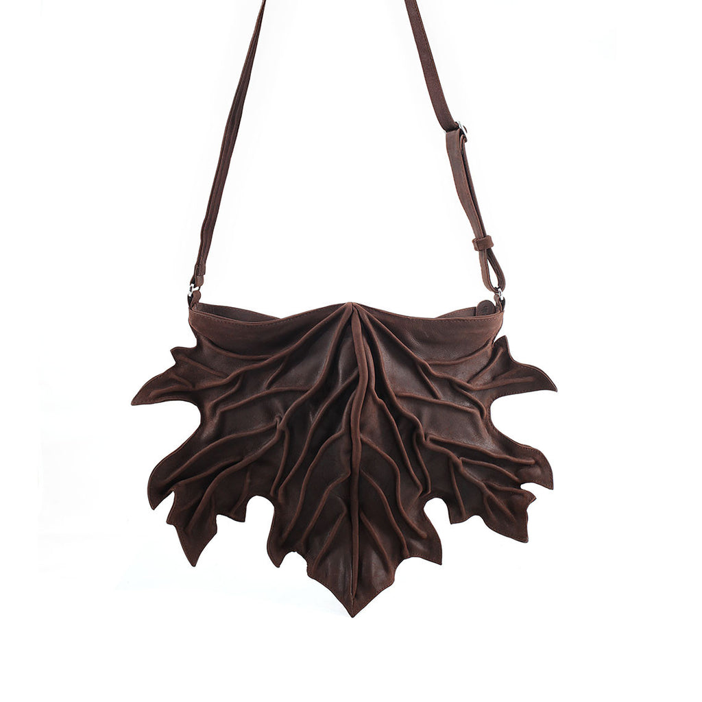 by-Lin Brown Maple Leaf Bag