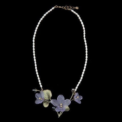 Michael Michaud African Violet Pearl Necklace