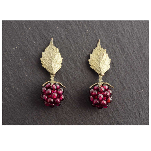 Michael Michaud Raspberry Post Leaf Earrings