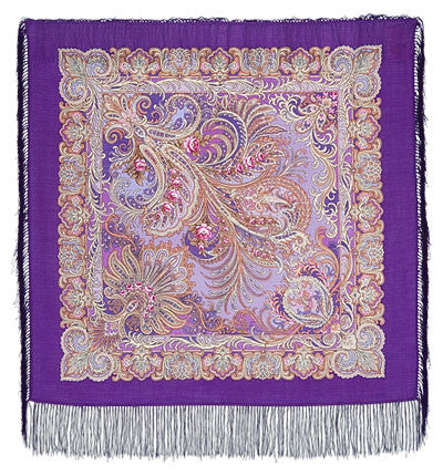 Russian Shawl - Purple Paisley With Small Roses