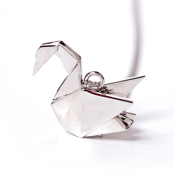 Origami Jewellery Swan Necklace In Silver