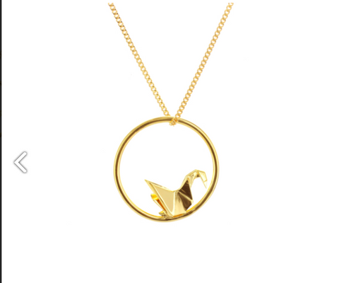 Origami Jewellery Swan Circle Necklace In Gold