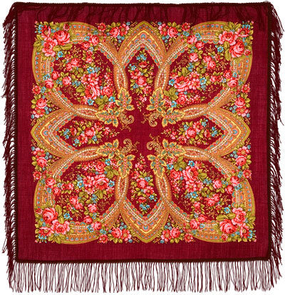 Russian Shawl - Red With Pink Roses