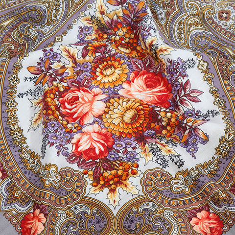 Russian Shawl - Violet Grey With Roses